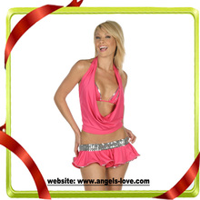 wholesale pink sexy club dress with mini skirt pictures A2155