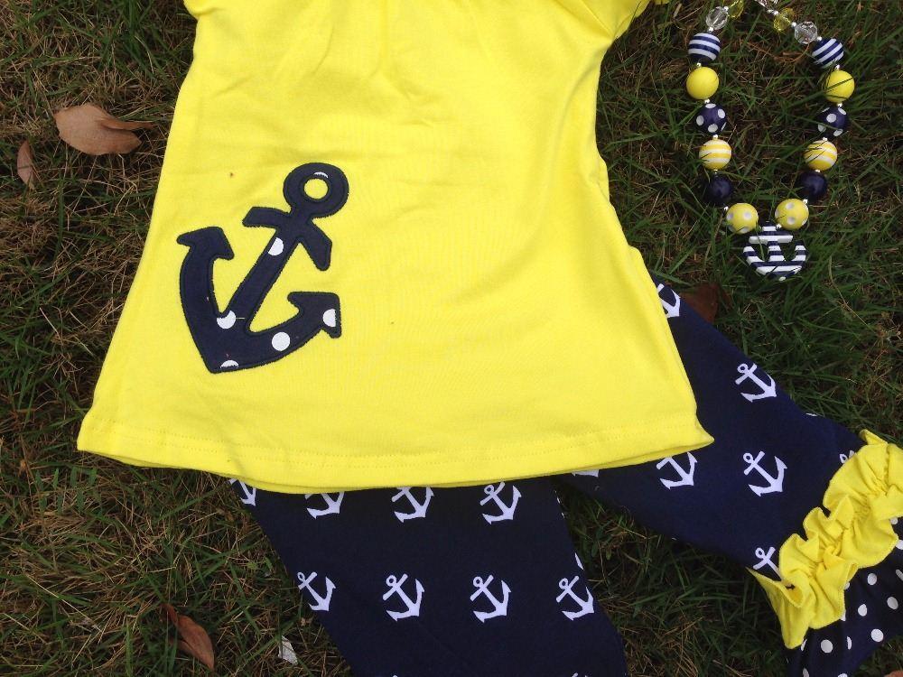 2015 new hot girls yellow navy anchor capri set outfits Yiwu ...