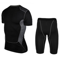 High Quality Summer Gym Training Basketball Tshirt Fitness Running Clothes Set For Men Track Running Shirt Compression Shorts