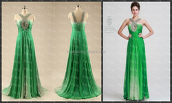 Real Picture 2015 Evening Dresses Green Halter Sleeveless Chiffon Beads Long Gowns