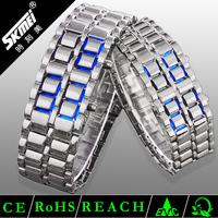 silver bracelet slap watch,famous brand plating binary led watch