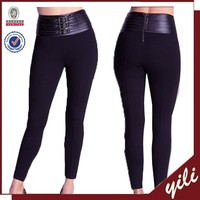 2015 hot sell high waist belted women tight pants lady sex legging pants