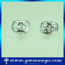 Stud earrings screw back made with CZ crystals