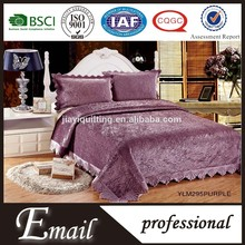 Hot sale Elegant lace pattern 100%polyester quilt sets/ emboridered bedcover from china