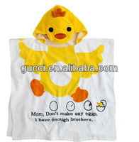 baby candy color bathrobe cute cartoon duck style 100% cotton kids towel letters