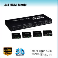 hdmi matrix switcher 4x4 with HDBaseT extender 100m support ir call back system, switch splitter hdmi 1.4