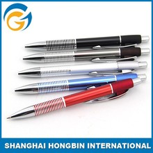 Sliver And Leather Metal Ball Pen With Clip Alunimum Metal Pen