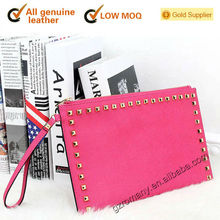 genuine leather high-end good quality famous branded rivet style leather purse genuine leather wallet - 554#-4