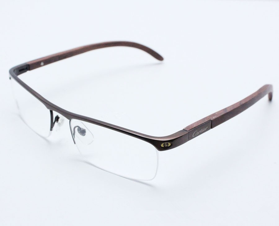 Half Frame Wood Glasses : Fashion prescription glasses titanium & wood eyeglasses ...