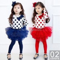 2015 baby girl dot bow t shirt+tutu skirt 2pcs set children clothing sets girls spring clothing kids clothes suits