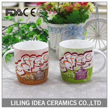 ceramic white mugs with decal printing for tea drinking in new bone china