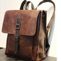 Men's Travel Hiking Bags Leather Military backpack bags