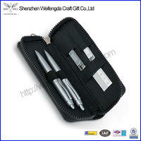 Simple Design High Quality School Leather Pen Bag For 2 Pens
