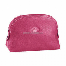 Peach Pink Zip Up Faux Leather Cosmetic Holder Pouch Bag For Woman