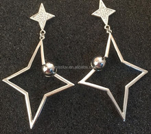 American superstar night bar earrings,metal hollow rhombus pendant star earrings with crystals