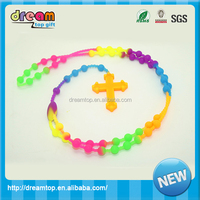 silicone teething necklace colorful cross shape rosary silicone necklace