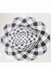 black white patterns straw fedora hat, nice design straw hat(HT-1504060004)
