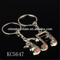 Cute design fashion musical notes shaped lovers keyring keychain