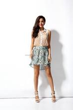 Hot sale Short Women Vintage Floral Chiffon pleated Skirt