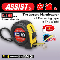 assist brand water proof 5m ABS quality plastic+TPR promotional best steel Rubber tape measuring,quality tools brand name tools