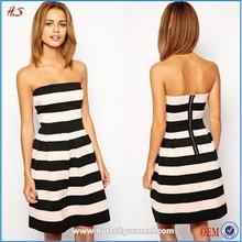 2015 Summer Girls Simple White And Black Stripe Bandage Off Shoulder Dress