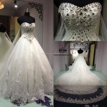 Real Picture Crystal Lace Appliques Beaded Luxury Wedding Dresses 2015 FMG01
