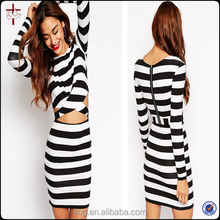 2015 Fashion Black and White Stripe Long Sleeve Clothes for Women