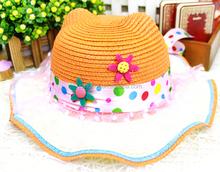 Child waves brim straw hat, child beach hat with rural small broken flowers, hotsale outdoor sun hat