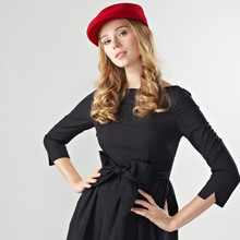 Fashion Design Black With Red Band Fedora Hat