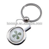 Irish Keyring - Four Leaf Clover - Good Luck - Round