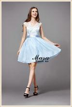 Estilo de la muchacha mini vestido de cóctel 2015 nuevo estilo de la venta! Azules elegancia encaje plisado vestido de noche