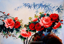 hot selling modern oil painting flower picture for home decor with rose CT-62