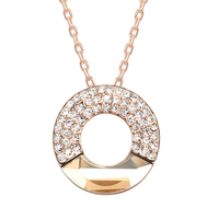 Rose Gold Plated Gold Circle Round Necklace Made With SWAROVSKI ELEMENT