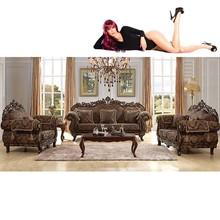 Brown Wood Sofa Set Luxury Living Room Sofa Sets Foshan Shunde Furniture