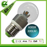 Screw E26 E27 Sliver color Aluminum body lighting 4W led bulb lamp