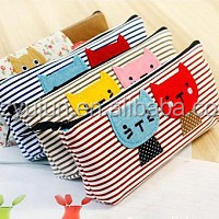 Wholesale Animal Print Canvas Pencil Bags/Student Pencil Case/Promotional Gift Stationery Bag