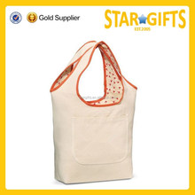 Fashion Die- Cut Handle Recyclable Cotton Shopping Bag With Outside Pocket