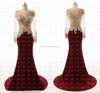 Amazing Mermaid Burgundy Heavily SequinsTop Satin Sheer Long Sleeves Evening Dresses FMG21