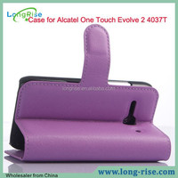 Hot Selling Purple Wallet PU Leather Case for Alcatel One Touch Evolve 2 4037T