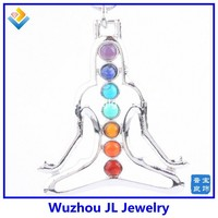 Alibaba China 7 Mix Stone Healing Dowsing Chakra Gemstone Cross Charms Pendant For Necklace