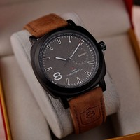Alibaba china supplier genuine leather watch strap new curren clock wrist watch for young people