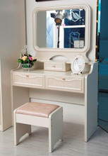White Vanity Dresser with Mirror and Soft Close Pull Out Jewelry Drawer