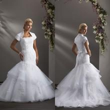 De manga larga de encaje de sirena moderna de varios niveles de organza vestidos de novia corto