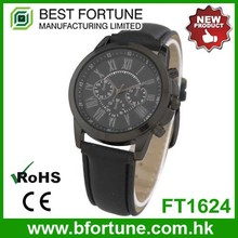 FT1624 Hong Kong manufactured quartz three eyes movement men leather time piece