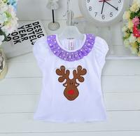 New 2016 Fashion Christmas baby T-shirt children's clothing lace round neck short sleeve T-shirt
