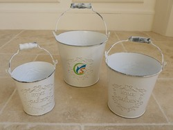 White chic home garden decor metal mini flower pots