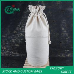 Professional factory wholesale drawstring canvas wine bag