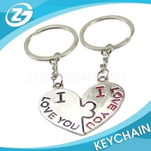 Personalized Zinc Alloy Lover Heart Keychain
