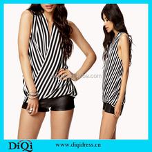 ملابس نسائية الصيف تيشرت الشيفون مقلم 2015 نماذج النساء قمم والبلوزات/ blusas