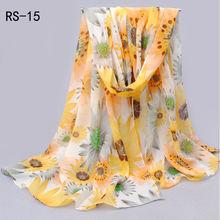 Mujeres de moda largo suave señora del abrigo del mantón de la gasa de seda de la bufanda